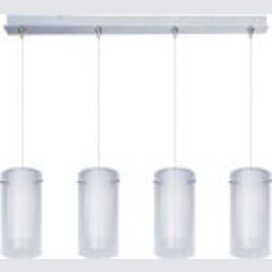 "Minx Collection 4-Light 34.25"" Satin Nickel Linear Pendant and Clear/White Glass E94944-10SN"