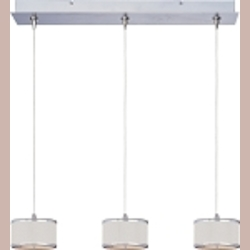 "Elements Collection 3-Light 24.5"" Satin Nickel Linear Pendant E95496-102SN"