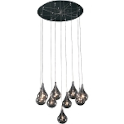 "Larmes Collection 9-Light 22"" Polished Chrome Round Pendant with Clear Glass E20115-18"