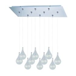 "Larmes Collection 10-Light 31"" Satin Nickel RapidJack Rectangular Pendant and Canopy with Clear Glass E93910-18SN"