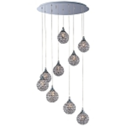 "Brilliant Collection 9-Light 21"" Wide Adjustable Crystal Pendants E24020-20PC"