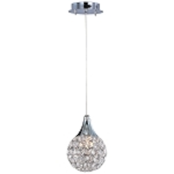 "Brilliant Collection 1-Light 7"" Round Crystal Mini Pendant E24023-20PC"