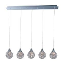 "Brilliant Collection 5-Light 33"" Linear Crystal Pendant E24025-20PC"
