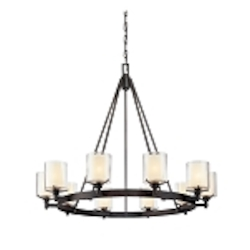 Ten Light French Iron Up Chandelier