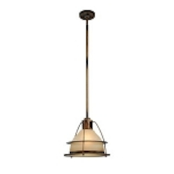 "Bristol Bay Collection 1-Light 15"" Sunset Bronze Energy Saving Mini Pendant with Light Amber Glass FF2058SBZ"