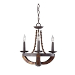 "Adan Collection 3-Light 18"" Rustic Iron Mini Chandelier with Burnished Wood Accents F2750/3RI/BWD"