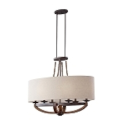 "Adan Collection 6-Light 35"" Rustic Iron Oval Chandelier with Burnished Wood Accents and Beige Drum Shade F2751/6RI/BWD"