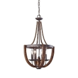 "Adan Collection 4-Light 27"" Rustic Iron Mini Chandelier with Burnished Wood Accents F2753/4RI/BWD"