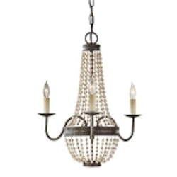 "Charlotte Collection 3-Light 20"" Peruvian Bronze Mini Chandelier with Ornate Wood Beads F2755/3PBR"