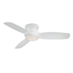 White 3 Blade 52In. Flush Mount Indoor/Outdoor Ceiling Fan With Blades And Integrated 1 Bulb Light Kit Included