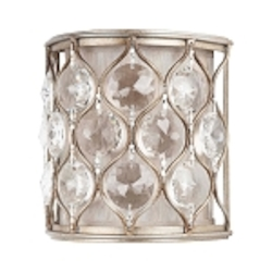 "Lucia Collection 1-Light 8"" Burnished Silver Crystal Wall Sconce WB1497BUS"
