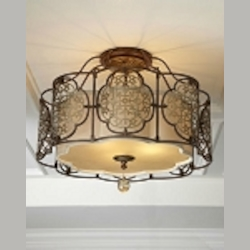 "Marcella Collection 3-Light 21"" British Oxidized Bronze Semi-Flush Mount with Drum Shade SF285BRB/OBZ"