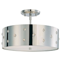 "Bling Bling Collection 3-Light 14"" Chrome Semi-Flush Mount with Crystal Accents P035-077"