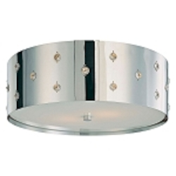 "Bling Bling Collection 2-Light 14"" Chrome Flush Mount Ceiling Light with Crystal Accents P036-077"