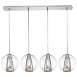 Chrome 4 Light Linear Pendant in Chrome from the Bling Bang Collection