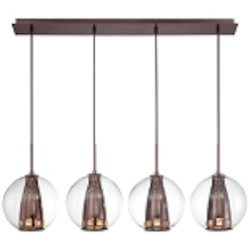 "Bling Bang Collection 4-Light 35"" Chocolate Chrome Linear Pendant with Teak Crystal Accents and Clear Glass Globes P1041-631"
