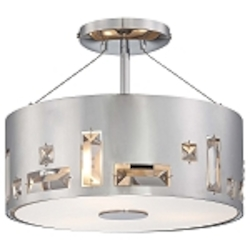 Chrome 3 Light Semi-Flush Ceiling Fixture in Chrome from the Bling Bang Collection