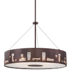 "Bling Bang Collection 5-Light 22"" Chocolate Chrome Drum Pendant with Teak Crystal Accents P1093-631"
