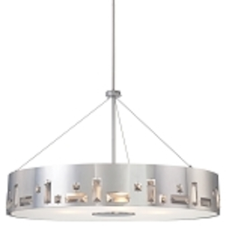Chrome 6 Light Drum Pendant In Chrome from the Bling Bang Collection