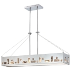 Chrome 6 Light 1 Tier Linear Chandelier in Chrome from the Bling Bang Collection