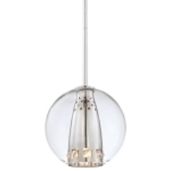 Chrome 1 Light Mini Pendant from the Bling Bang Collection
