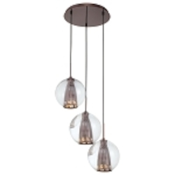 "Bling Bang Collection 3-Light 18"" Chocolate Chrome Pendant with Teak Crystal Accents and Clear Glass Globes P943-631"