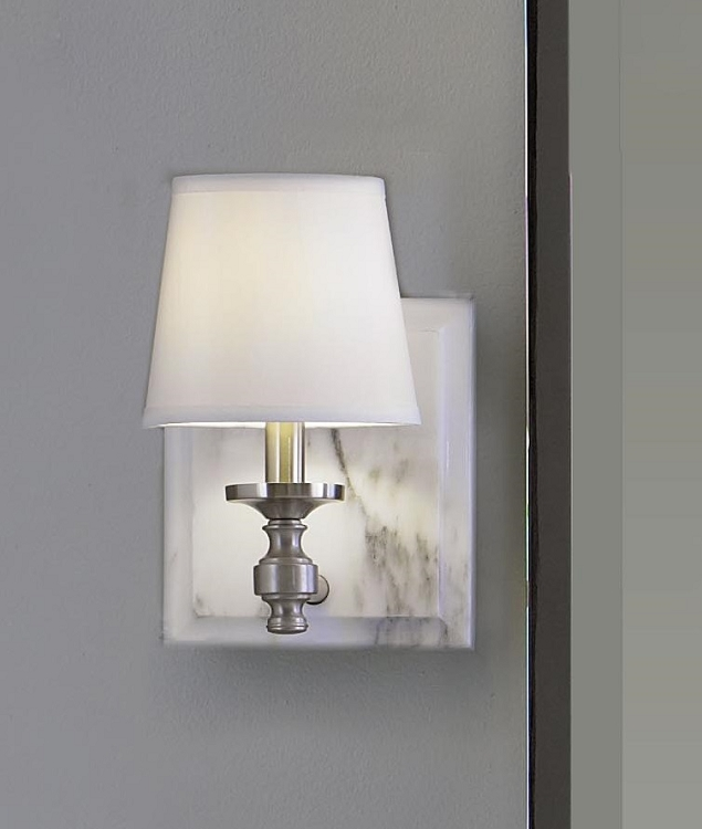 Feiss One Light Brushed Steel Eggshell Shantung Fabric Shade Bathroom Sconce - VS34001-BS