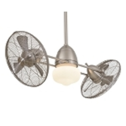 "Minka Aire Brushed Nickel Gyro Wet/Damp Twin Turbo 42"" Ceiling Fan with Light Kit F402-BNW"