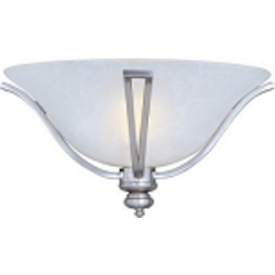 "Madera Collection 3-Light 16"" Satin Silver Flush Mount with Ice Glass Shade 10169ICSS"