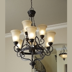 "Highland Place Collection 9-Light 38"" Mocha Bronze Chandelier with Painted Etched Glass Shade 25229-MB"