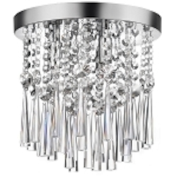 "Josephine Design 3-Light 10"" Chrome Ceiling Mount with European or 30% Lead Crystals SKU# 10748"