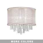 "Josephine Series 3-Light 12"" Chrome Crystal Ceiling Flush Mount with an Organza Shade SKU# 13066"