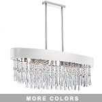 "Shaded Light Design 8-Light 39"" Chrome Oval Crystal Hanging Pendant with Micro Shade SKU# 13060"
