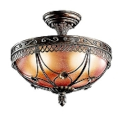 Marchesa Collection 3-Light Terrene Bronze Semi-Flush Ceiling Fixture with Piastra Glass 42231TRZ