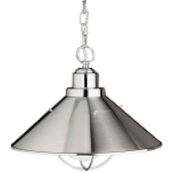 "Seaside Collection 1-Light 16"" Satin Nickel Outdoor Hanging Pendant 2713NI"