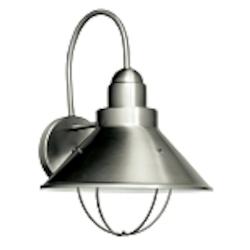 "Seaside Collection 1-Light 14"" Satin Nickel Fluorescent Outdoor Wall Sconce 11099NI"