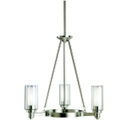 "Circolo Collection 3-Light 22"" Brushed Nickel Mini Chandelier with Satin Etched Glass 2343NI"