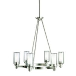 "Circolo Collection 6-Light 26"" Brushed Nickel Chandelier with Satin Etched Glass 2344NI"