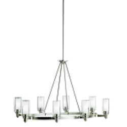 "Circolo Collection 8-Light 35"" Brushed Nickel Oval Chandelier with Satin Etched Glass 2345NI"