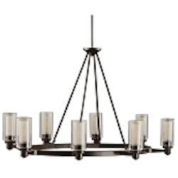 "Circolo Collection 8-Light 35"" Olde Bronze Oval Chandelier with Umber Etched Glass 2345OZ"