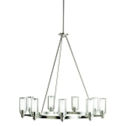 "Circolo Collection 9-Light 36"" Brushed Nickel Chandelier with Satin Etched Glass 2346NI"