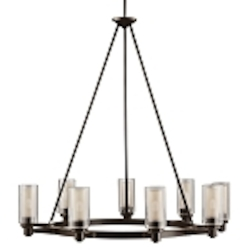 "Circolo Collection 9-Light 36"" Olde Bronze Chandelier with Umber Etched Glass 2346OZ"
