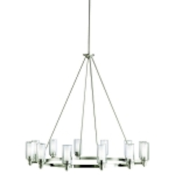 "Circolo Collection 12-Light 44"" Brushed Nickel Chandelier with Satin Etched Glass 2347NI"
