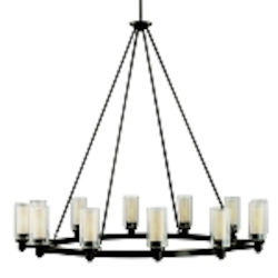 "Circolo Collection 12-Light 44"" Olde Bronze Chandelier with Umber Etched Glass 2347OZ"