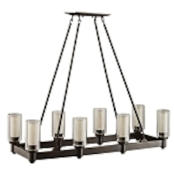 "Circolo Collection 8-Light 36"" Olde Bronze Rectangular Chandelier with Umber Etched Glass 2943OZ"