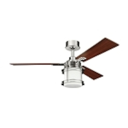 "Pacific Edge Collection 52"" Polished Nickel Ceiling Fan with Light Kit 300157PN"
