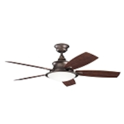 "Cameron Collection 52"" Weathered Copper Outdoor Ceiling Fan with Light Kit 310104WCP"