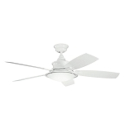 "Cameron Collection 52"" White Outdoor Ceiling Fan with Light Kit 310104WH"