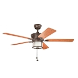 "Deckard Collection 52"" Tannery Bronze Outdoor Ceiling Fan with Light Kit 310105TZP"