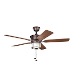 "Deckard Collection 52"" Weathered Copper Outdoor Ceiling Fan with Light Kit 310105WCP"